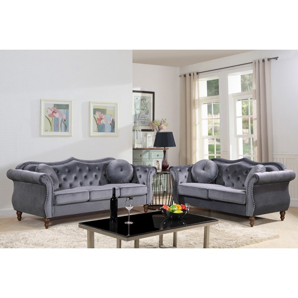 Gracewood Hollow Mantel Mid-century Nailhead 2 Piece Living Room Set