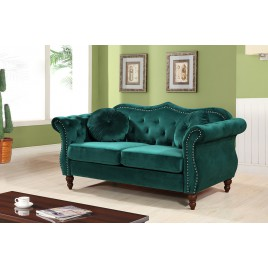 Gracewood Hollow Mantel Mid-century Nailhead Chesterfield Loveseat